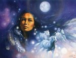 Native American Woman in Full Moon Light Sky