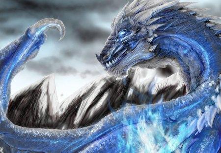 Blue Dragon - animal, fantasy, blue, creature, game, silver, dragon