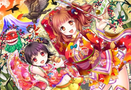 ~The Idolmaster~ - colorful, fantasy, bird, anime, girls, volcano, idolmasters
