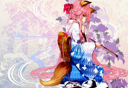 Neko In Kimono - Neko, Anime, Tail, Animel Ears, Smile, Pink Hair, Sweet, Butterfly, Cute, Green Eyes, Girl, Long Hair, Original, Flowers
