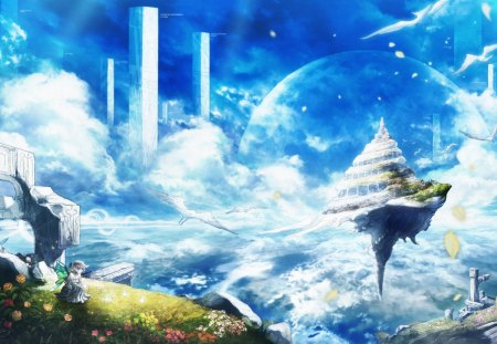 ~The Kingdom In The Sky~ - fantasy, girl, anime, buildings, clouds, sky