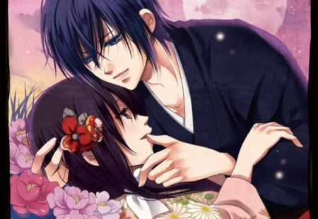 Saitou ♡  Chizuru - chizuru, divine, yukimura chizuru, floral, sweet, blossom, moon, anime, love, anime girl, long hair, couple, female, male, lovely, romantic, romance, brown hair, purple hair, saitou, short hair, boy, girl, hakuouki shinsengumi kitan, flower, lover, saitou hajime
