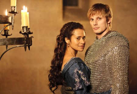 Guinevere and Arthur - merlin, arthur, celebrity, beautiful, gwen, entertainment, people, tv series, bradley james, angel coulby, actresses, actors
