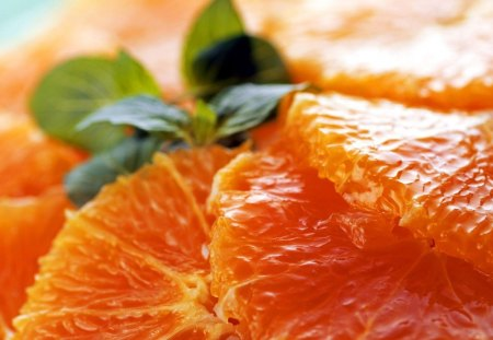 Ruby Red Grapefruit - red, segments, delicious, mint, orange, ruby, ruby red, pulp, fruit, sections, citrus, green, macro, grapefruit