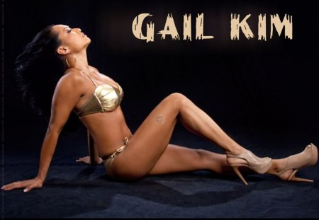 Gail Kim - wrestling, gail-kim, swimwear, asian, model, black, gold, heels