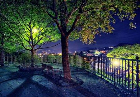 Paysage de nuit - paysage, nuit, bleu, lumineux