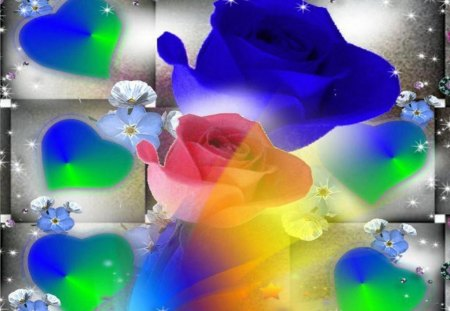 Rainbow Roses - green heart, roses, rainbow colours, blue