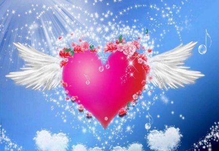 Pink Heart - pink flowers, glitter, music, white wings, white heart, lights, pink heart