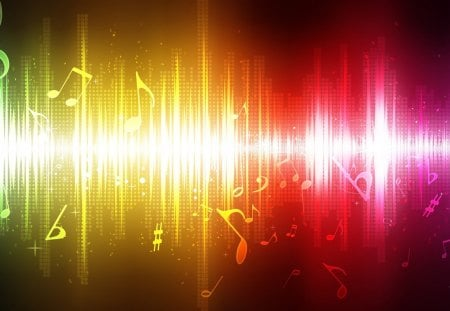 The Sound of Music - red, signals, music, notes, colors, yellow, rainbow, tunes, abstract, gold, song, bright, sing, musical, tune
