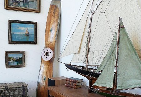 small collection - boats, prop, sails, collection
