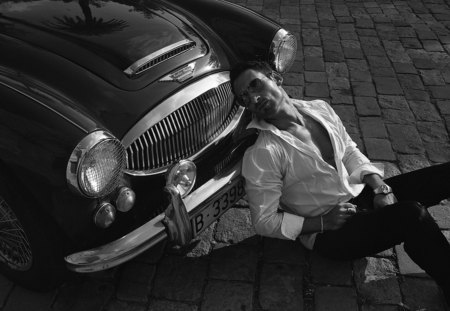 B&W - man, model, black white, car