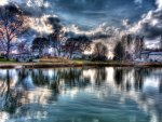 beautiful suburban lake hdr