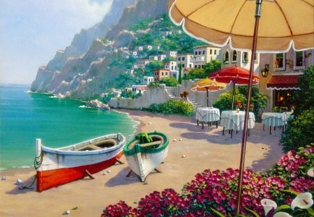 Capri rendez-vous - pretty, resort, shore, cafe, Italy, umbrella, mountain, beach, nice, calm, boats, village, flowers, beauty, rest, art, lovely, ocean, relax, Capri, waves, water, serenity, restaurant, paradise, sands, beautiful, sea, rendez-vous, painting, place, coffee, peaceful, nature, coast