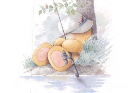 Fishing Bear - fishing pole, river, nap, teddy bear, tree