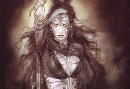 Luis Royo (Sati Dance) - tattoo, fantasy, woman, girl, female, sword, lady, luis royo