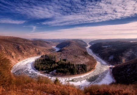 the river saar in france - horseshoe, gorge, river, clouds, frozen