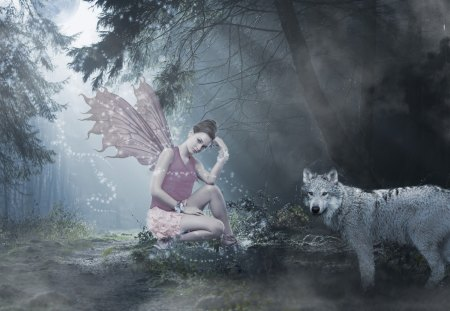 Fairy and Wolf - Fairy, Fantasy, Forest, Wolf