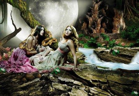 Eve's Temptation - Fantasy, Girls, Moon, Women