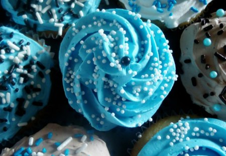 Cupcakes - delicious, food, chocolate, sweet, dessert, turquoise, cupcakes, white, cream, blue