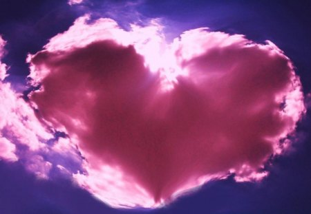 My pink heart it's here for you! - cloud, love, heart, day, valentine, sky, pink