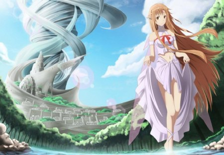 Asuna - VR, world tree, VRMMORPG, Asuna, online game, Sword art online, Alo, Elf, anime, Alfheim, virtual reality, anime girl