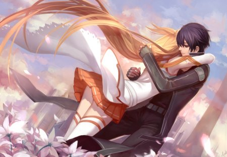I Love You - pretty, kazuto, floral, love, anime, beauty, anime girl, long hair, yuuki, romance, sky, braids, short hair, hug, asuna yuuki, lover, asuna, orange hair, beautiful, kirito, blossom, black hair, couple, female, cloud, male, romantic, lack hair, kirigaya kazuto, yuuki asuna, sword art online, kirigaya, armor, sao, boy, girl, flower, petals