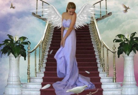 Angel on the Stairs - hair, stair, angel, white wings, flowers, beautiful, white doves, purple dress