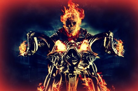 Ghost Rider - ghost rider, skeleton, movie, orange, yellow, motorcycle, fire, flame, skull, blue