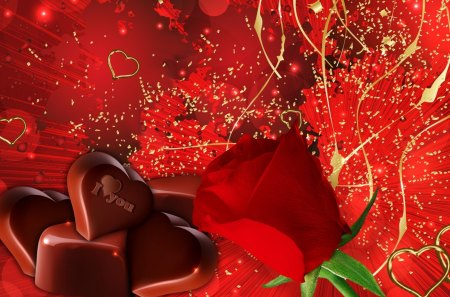 Chocolates and a Red Rose - hearts, romantic, gold, Valentines Day, lovers, flower, chocolates, candy, red rose, love