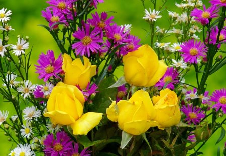 Pretty bouquet - pretty, colorful, yellow, beautiful, fragrance, nice, lovely, fresh, scent, spring, roses, freshness, daisies, bouquet, summer, violet, nature, field