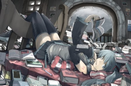 Study Hard - Vocaloid, hatsune miku, anime, music, anime girls, game, twintails, idol
