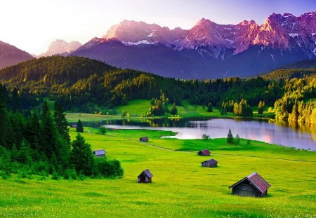 Mountain houses - grass, lake, meadow, slope, pond, mountain, cottages, nice, summer, nature, beautiful, lovely, houses, greenery, peaks, field, pretty, village, green, cabins, view