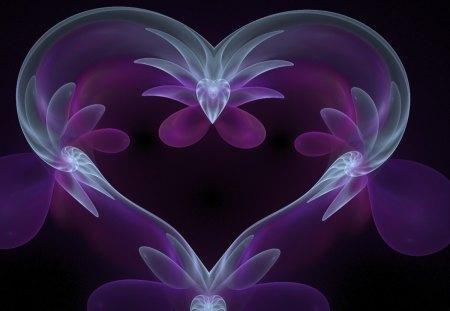 Majestic Purple Heart - Abstract, Love, Heart, Purple, Fractal