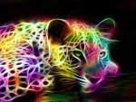 Fractal rainbow colored Jaguar