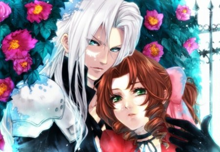 Aerith ♡ Sephiroth - pretty, white hair, green eyes, final, sweet, floral, fantasy, love, anime, handsome, beauty, anime girl, final fantasy, long hair, lovely, romance, aerith, lover, divine, guy, video game, beautiful, elegant, blossom, couple, gorgeous, sephiroth, female, male, romantic, brown hair, boy, girl, flower, petals, silver hair