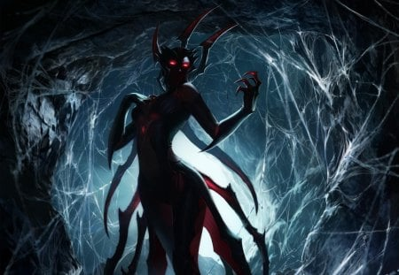 Elise - games, female, video games, spider, cave, league of legends, spiderweb, elise, arachnid, red eyes