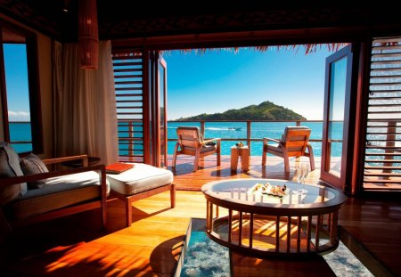 View Out From Water Bungalow In Fiji South Polynesia