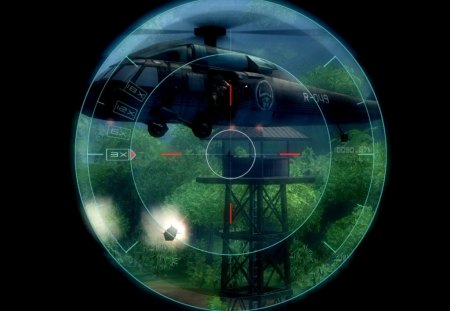 SNIPER - helicopter, black blackground, jungle, sniper, missile, photoshop filters
