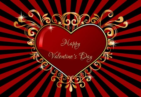 ♥Happy Valentine\'s Day♥ - red, Valentines, Valentines Day, gold, heart, black