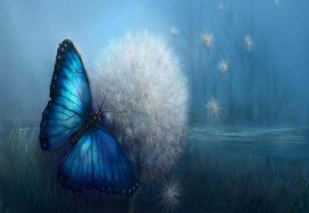 Butterfly Dreams - abstract, dandilion, fantasy, butterfly, animals, nature, flower