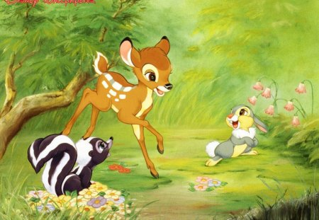 ~Bambi & His Friends~ - forest, rabbit, Disney, movie, bambi, skunk, spring, deer, thumper, flower, classic, friends