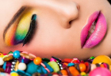 Cool makeup - artistic, colorful, makeup, beads, pretty face