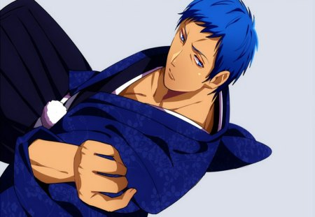 Aomine Daiki - Blue Eyes, Blue Hair, Boy, Kurok no Basket, Anime, Cute, Kimono, Aomine Daiki, Short Hair