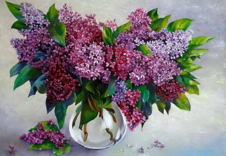 Fresh lilac - colorful, flowers, fresh, fragrance, painting, nice, scent, vase, freshness, beautiful, bouquet, lovely, lilac, spring, pretty, still life