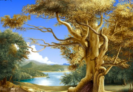 Big tree - landscape, oil, nature, tree, painting
