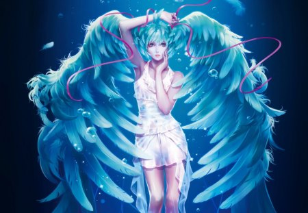 Hair Feathers - pretty, cg, magic, wing, sweet, fantasy, anime, feather, bubbles, beauty, anime girl, vocaloids, realistic, long hair, wings, lovely, ribbon, miku, singer, sexy, cute, water, idol, superstar, dress, hatsune miku, beautiful, elegant, hot, light, blue, gorgeous, vocaloid, female, angel, diva, twintails, twin tails, 3d, girl, blue hair