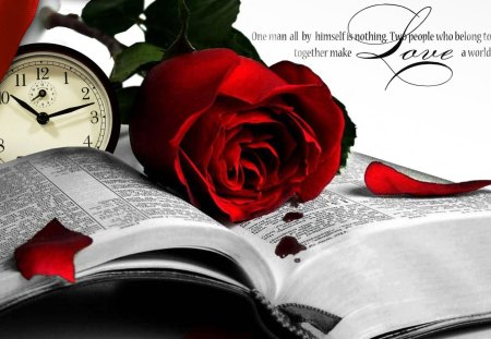 Book and a Rose - flowers, ribbon, clock, romantic, petals, collage, book, fleurs, vintage, rose, time, blood, love, Twilight