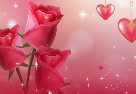 Roses Most Beautiful - hearts, flowers, pink, roses, summer, Valentines Day, glow, fleurs, stars, spring, rose, sparkle