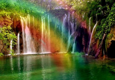 Most Beautiful - water, promise, Jehovah, waterfall, colors, color, God, rainbow