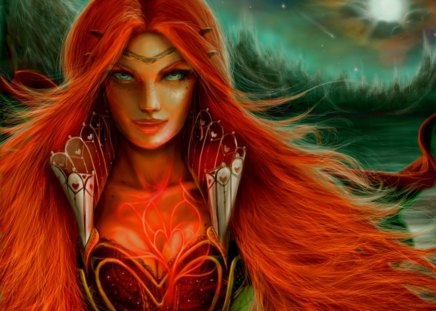 Queen of Hearts - hearts, stars, queen, fantasy, moon, red hair